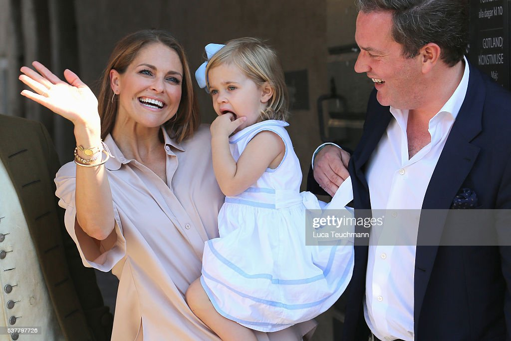 Princess Madeleine of Sweden, Princess Leonore of Sweden and Christopher O'Neill are seen visiting Gotland Museum on June 3, 2016 in Gotland, Sweden. Duchess Leonore meets her horse Haidi of Gotland for the first time