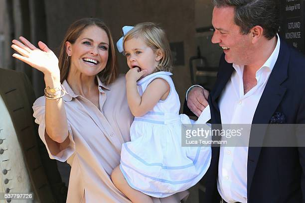 Princess Madeleine of Sweden Princess Leonore of Sweden and Christopher O'Neill are seen visiting Gotland Museum on June 3 2016 in Gotland Sweden...