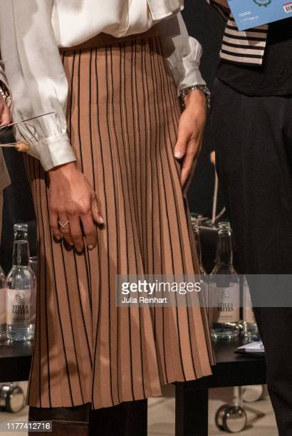 Princess Madeleine of Sweden, skirt detail, during her visit to the Bookfair on September 27, 2019 at Svenska Massan in Gothenburg, Sweden.