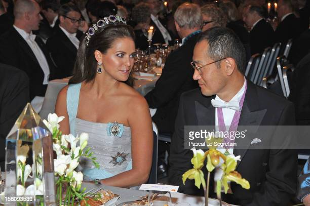 Princess Madeleine of Sweden speaks with laureate and Nobel Prize winner for Medicine Professor Shinya Yamanaka of Japan during the Nobel Banquet...