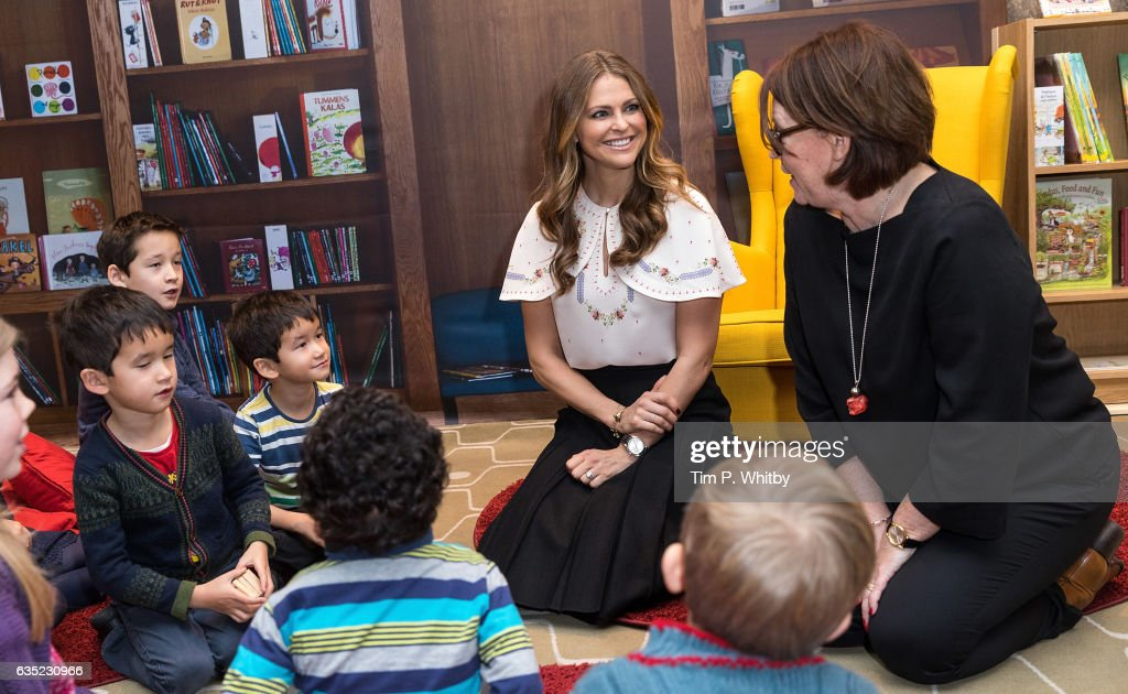 Princess Madeleine of Sweden talks to children during a visit to the Southbank Centre's 'Imagine' Children's festival where she opened the 'Room for Children' at the Royal Festival Hall on February 14, 2017 in London, England. The 'Room for Children' is a library filled with children's books from Nordic countries.