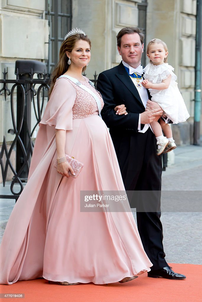 Princess Madeleine of Sweden, with husband, Christopher O'Neill, and their daughter Princess Leonore of Sweden , arrive at The Royal Chapel, at The Royal Palace in Stockholm for The Wedding of Prince Carl Philip of Sweden and Sofia Hellqvist on June 13, 2015 in Stockholm, Sweden.