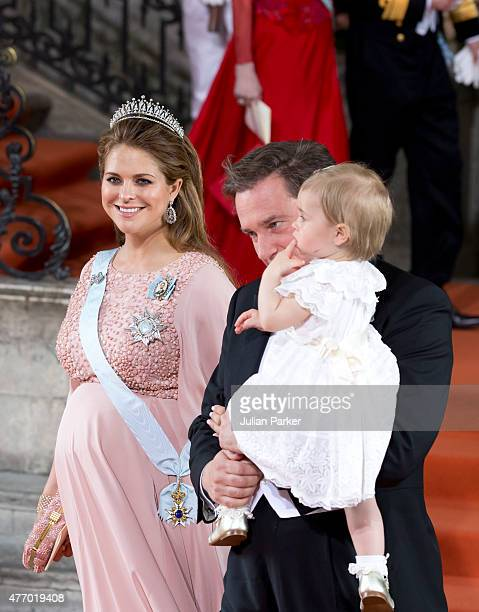 Princess Madeleine of Sweden, with husband, Christopher O'Neill, and their daughter Princess Leonore of Sweden, leave the Royal Chapel at The Royal...