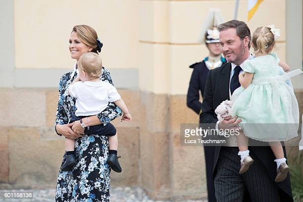 Princess Madeleine Prince Nicolas Chris O'Neill and Princess Leonore attend the christening of Prince Alexander of Sweden at Drottningholm Palace...