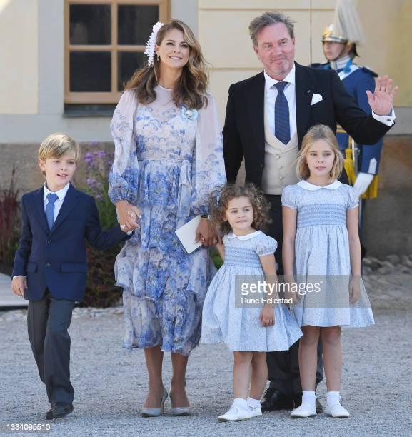 Princess Madeleine, Princess Adrienne, Princess Leonore, Prince Nicolas and Christopher O'Neill attend Prince Julian's baptism outside Drottningholm...