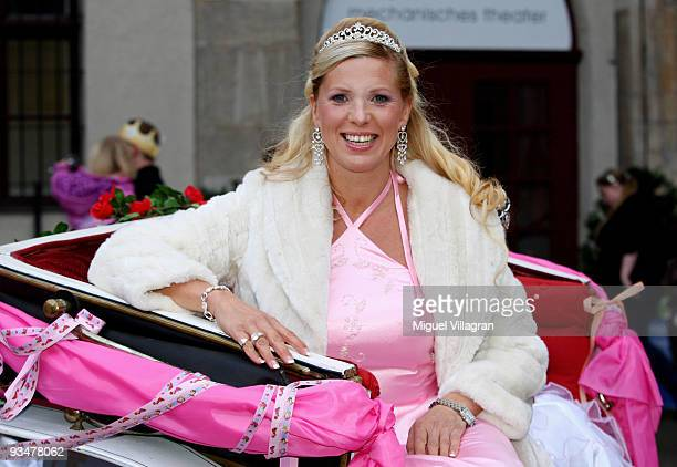 Princess Maja von Hohenzollern sits in a carriage and poses during the premiere of the Disney film 'Kiss the frog' on November 29 2009 in Munich...