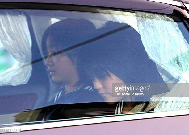 Princess Mako and Kako of Akishino are seen on arrival at the Imperial Palace to celebrate Empress Michiko's birthday on October 20 2008 in Tokyo...