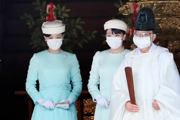 JPN: Princess Mako And Princess Kako Of Akishino Visit Meiji Jingu Shrine
