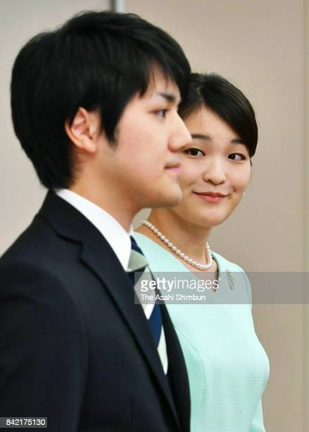 Princess Mako of Akishino and her fiance Kei Komuro attend a press conference at the Akasaka Estate on September 3 2017 in Tokyo Japan Princess Mako...