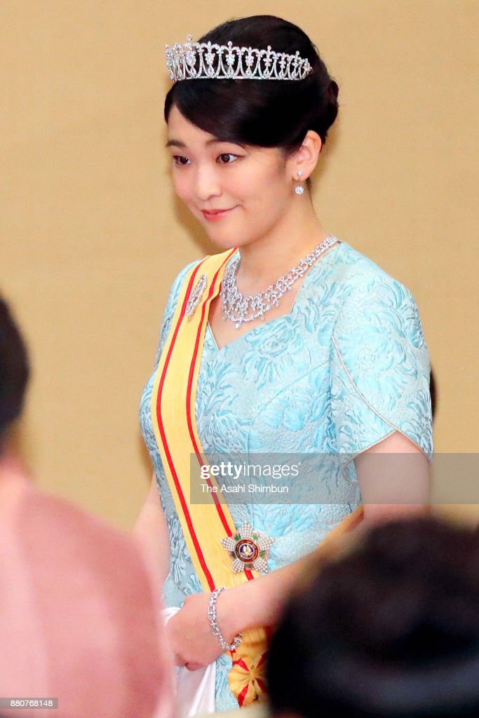 Princess Mako of Akishino attends the state dinner for Grand Duke Henri of Luxembourg at the Imperial Palace on November 27, 2017 in Tokyo, Japan.