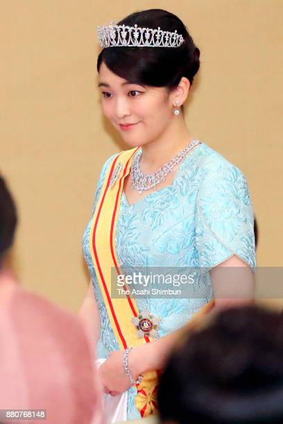 Princess Mako of Akishino attends the state dinner for Grand Duke Henri of Luxembourg at the Imperial Palace on November 27 2017 in Tokyo Japan