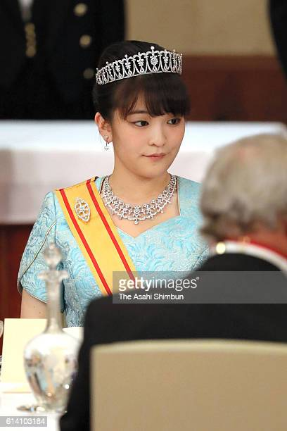 Princess Mako of Akishino attends the state dinner in honour of King Philippe and Queen Mathilde of Belgium at the Imperial Palace on October 11 2016...