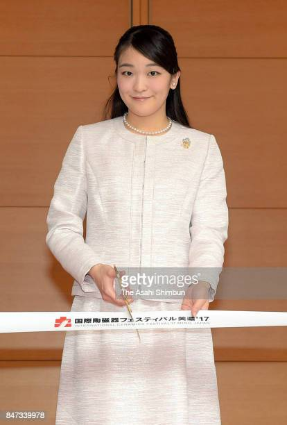 Princess Mako of Akishino attends the tapecutting ceremony of the International Ceramics Festival on September 15 2017 in Tajimi Gifu Japan