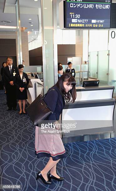 Princess Mako Of Akishino is seen at Haneda International Airport on September 17 2014 in Tokyo Japan Princess Mako a granddaughter of Emperor...
