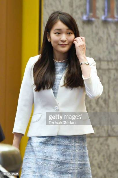 Princess Mako of Akishino is seen at the Nihonbashi Mitsukoshi Department Store to visit the traditional wooden and bamboo crafts exhibition on June...