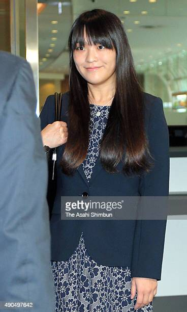 Princess Mako of Akishino is seen on arrival at Haneda International Airport on September 29 2015 in Tokyo Japan The princess had studied at post...