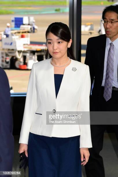 Princess Mako of Akishino is seen on arrival at Narita International Airport after visiting Brazil on July 31 2018 in Narita Chiba Japan