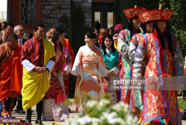 Princess Mako of Akishino King Jigme Khesar Namgyel Wangchuck and Queen Jetsun Pema visit a flower exhibition on June 4 2017 in Thimphu Bhutan
