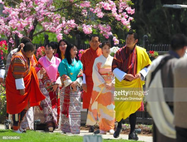 Princess Mako of Akishino , King Jigme Khesar Namgyel Wangchuck and Queen Jetsun Pema visit a flower exhibition on June 4, 2017 in Thimphu, Bhutan.