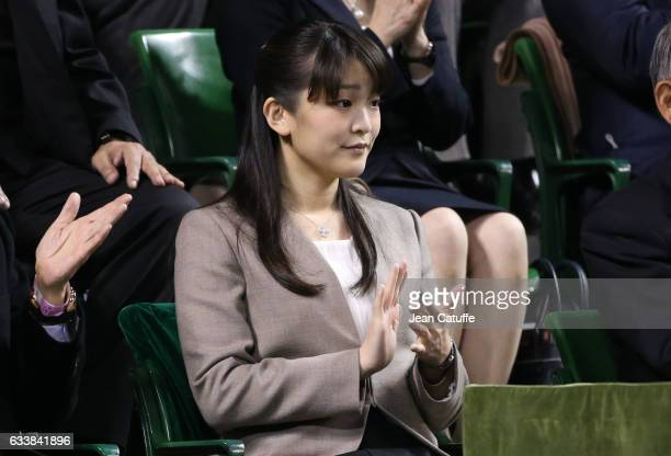 Princess Mako of Akishino of Japan attends the doubles match on day 2 of the Davis Cup World Group first round tie between Japan and France at Ariake...
