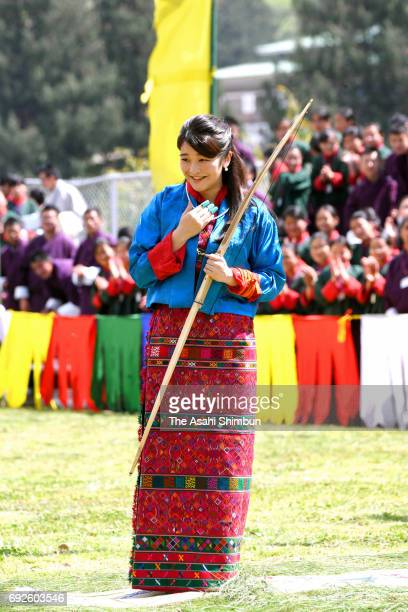 Princess Mako of Akishino tries a Bhutanese archery on June 3 2017 in Thimphu Bhutan