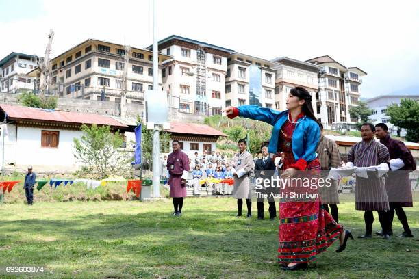 Princess Mako of Akishino tries a Bhutanese Darts on June 3 2017 in Thimphu Bhutan
