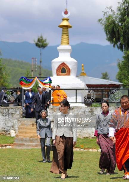 Princess Mako of Akishino visits a chorten to commemorate Japanese agriculture leader Keiji Nishioka on June 5 2017 in Paro Bhutan
