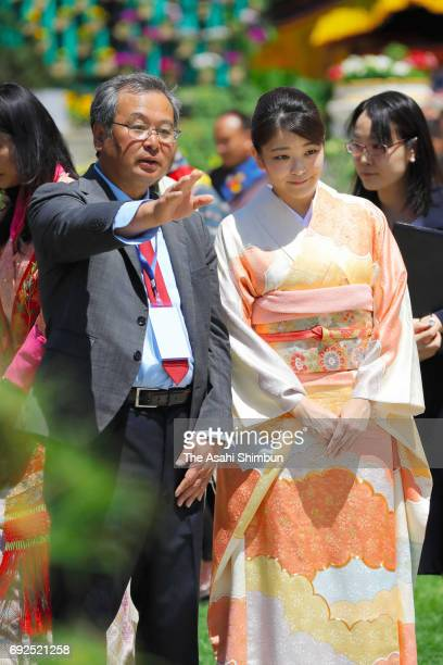 Princess Mako of Akishino visits a flower exhibition on June 4 2017 in Thimphu Bhutan