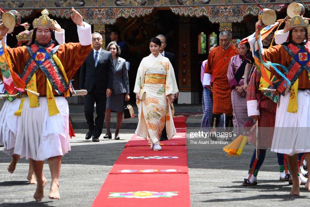 Princess Mako of Akishino walks to the office of King Jigme Khesar Namgyel Wangchuck of Bhutan prior to their meeting at Tashichho Dzong on June 2, 2017 in Thimphu, Bhutan.