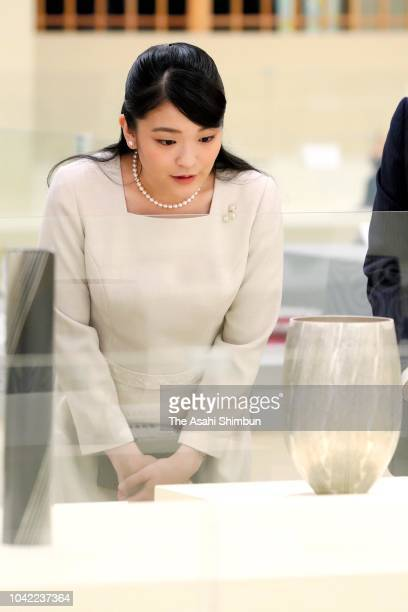 Princess Mako of Akishino watches exhibits during the Japan Craftsmanship Award on September 21 2018 in Tokyo Japan
