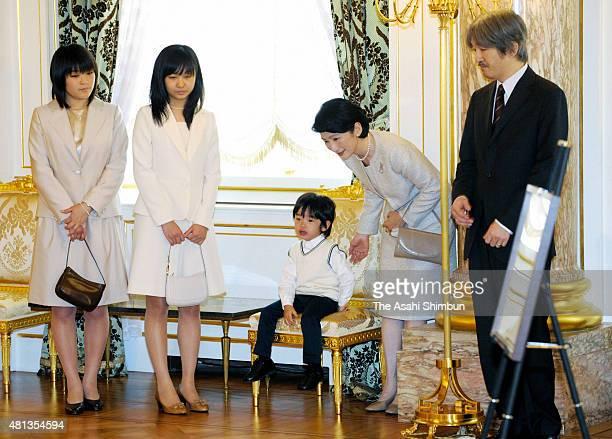 Princess Mako Princess Kako Prince Hisahito Princess Kiko and Prince Akishino are seen at refurbished Akasaka State Guest House on May 30 2010 in...
