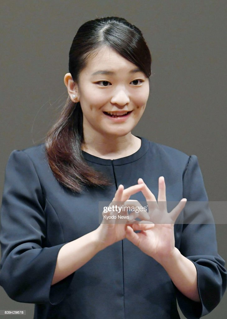 Princess Mako gives address in sign language : News Photo
