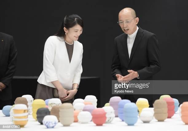 Princess Mako the eldest granddaughter of Emperor Akihito visits International Ceramics Festival Mino in Tajimi Gifu Prefecture on Sept 14 her first...