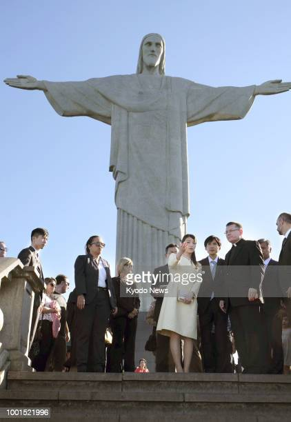 Princess Mako the eldest granddaughter of Japan's Emperor Akihito visits Mt Corcovado the site of the Christ the Redeemer statue in Rio de Janeiro...