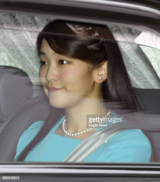 Princess Mako the granddaughter of Japanese Emperor Akihito and Empress Michiko leaves her residence in central Tokyo on May 31 for a nineday...