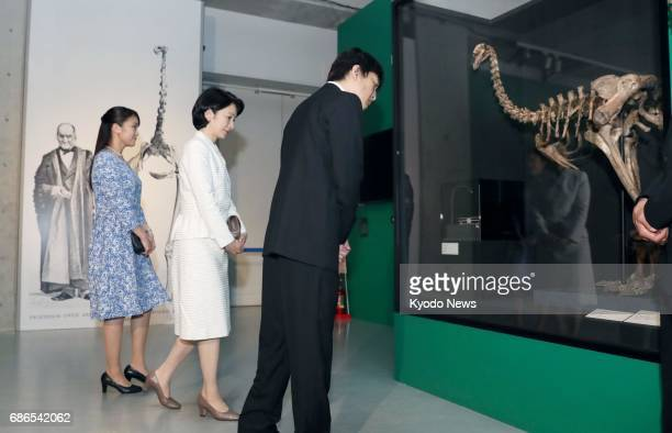 Princess Mako visits an exhibition at the National Museum of Nature and Science in Tokyo with her parents Prince Akishino and Princess Kiko on May 22...