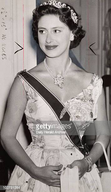 Princess Margaret 1955 Gelatin silver print A photograph of Princess Margaret Rose younger sister of Queen Elizabeth II in formal dress and tiara...