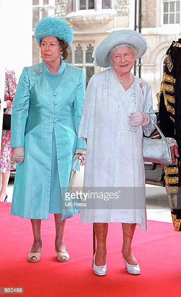 Princess Margaret accompanies the Queen Mother to a luncheon at London's Guildhall to celebrate the Queen Mother's forthcoming 100th birthday June 27...