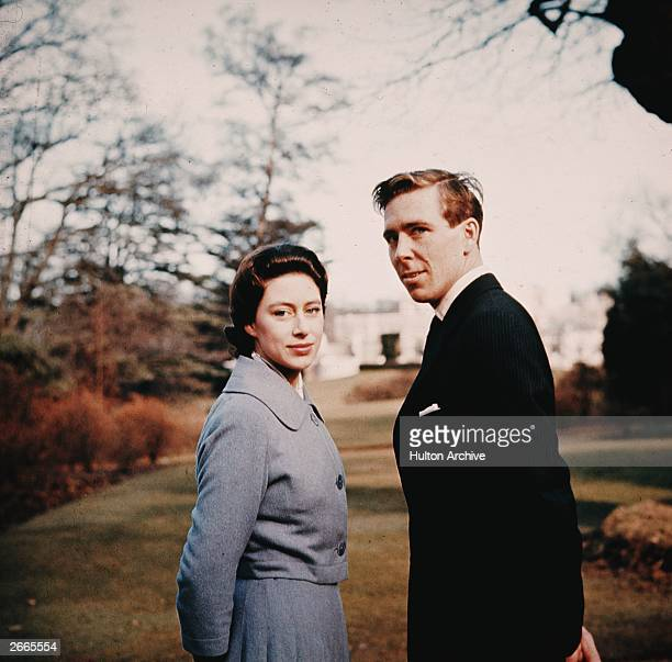 Princess Margaret and Antony ArmstrongJones in the grounds of Royal Lodge after they announced their engagement