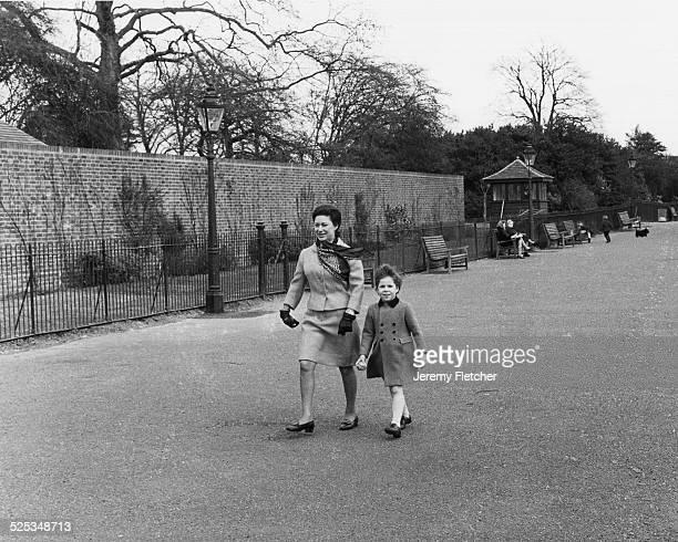 Princess Margaret and David ArmstrongJones walking in Kensington Gardens London 1968