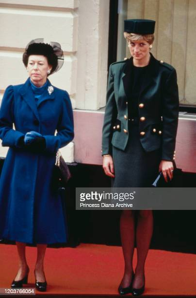 Princess Margaret and Diana, Princess of Wales wait at Victoria Station in London for the arrival of Italian President Francesco Cossiga on a State...