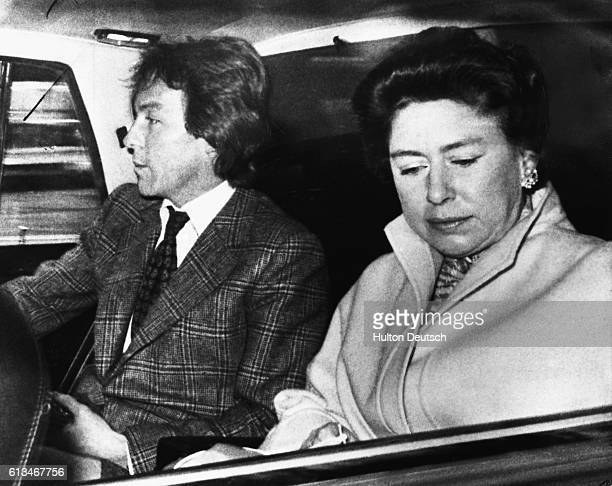 Princess Margaret and her companion Roddy Llewellyn on their way to Heathrow Airport before departing for a holiday in the Caribbean