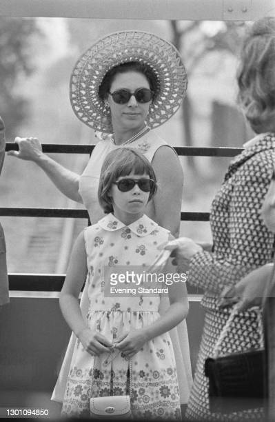 Princess Margaret and her daughter, Lady Sarah Armstrong-Jones riding a miniature railway at Whipsnade Zoo in Bedfordshire, UK, 6th August 1973.