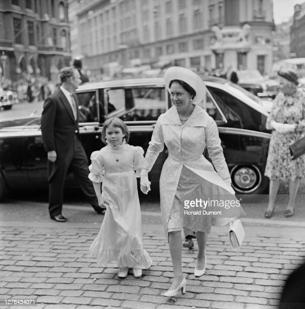 Princess Margaret and her daughter, Sarah Armstrong-Jones at the wedding of Lady Elizabeth Anson and Sir Geoffrey Shakerley at Westminster Abbey in...