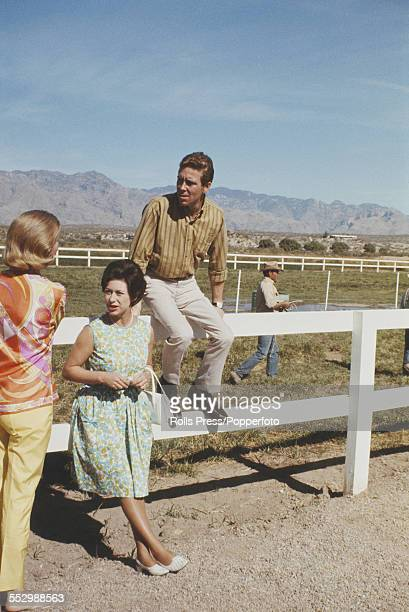 Princess Margaret and her husband Antony ArmstrongJones 1st Earl of Snowdon pictured together at an Arizona ranch during their visit to the United...