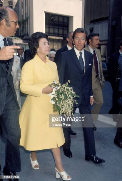 Princess Margaret and her husband Antony ArmstrongJones or Lord Snowdon at the Rockefeller Centre circa 1974 in New York City