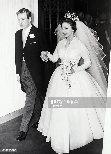 Princess Margaret and her new husband Antony ArmstrongJones leave Westminister Abbey after their wedding