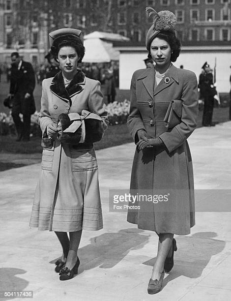 Princess Margaret and her sister Princess Elizabeth leaving Grosvenor Square London after the unveiling of the memorial to American President...