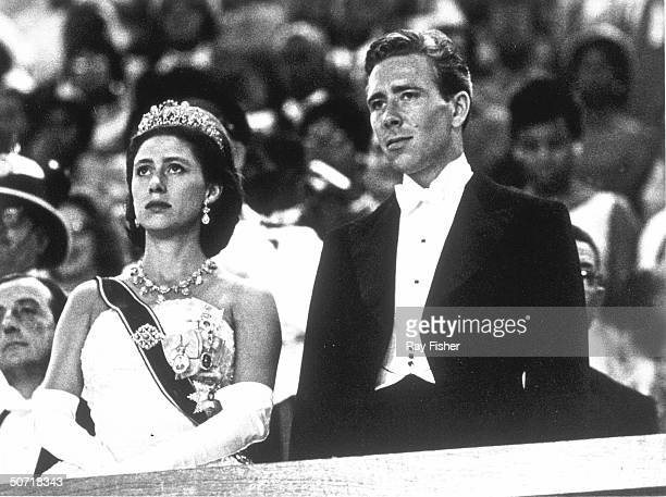 Princess Margaret and husband Antony ArmstrongJones at state ball during Jamaican independence celebration