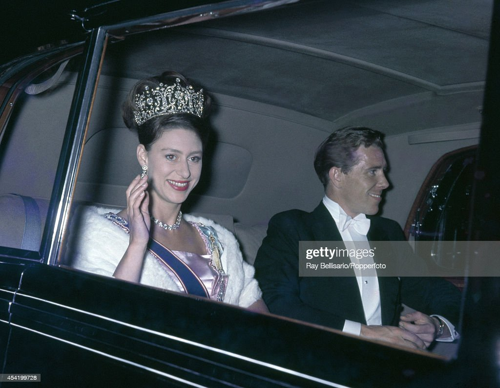 Princess Margaret and Lord Snowdon arriving at a state banquet at Buckingham Palace on 10th July 1962.